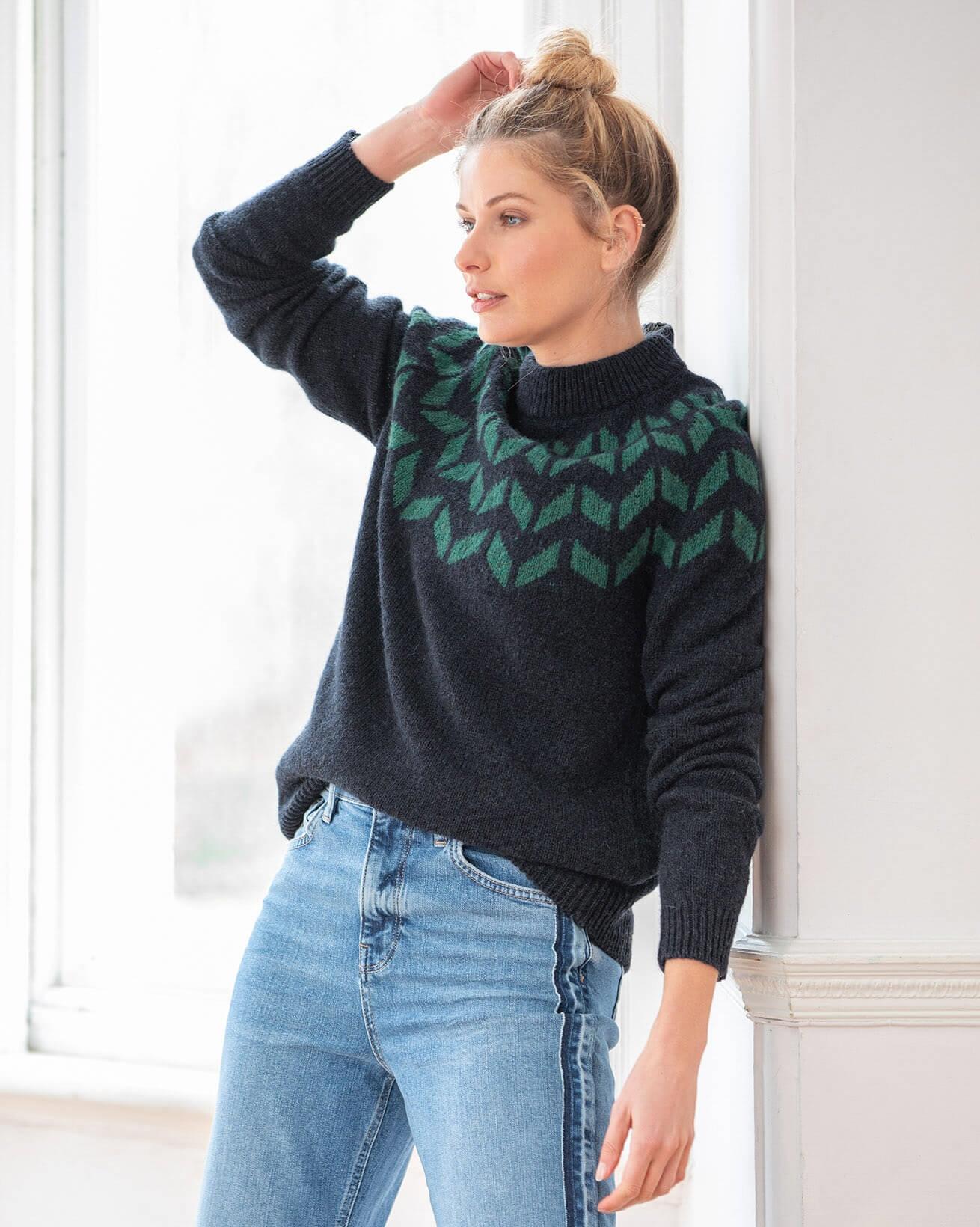 Shetland Chevron Yoke Sweater