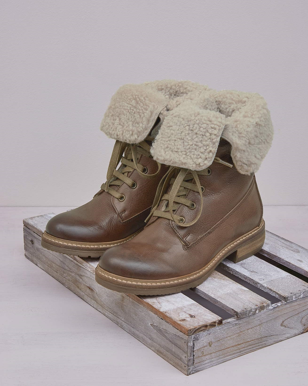 Fold Down Lace Up Boots