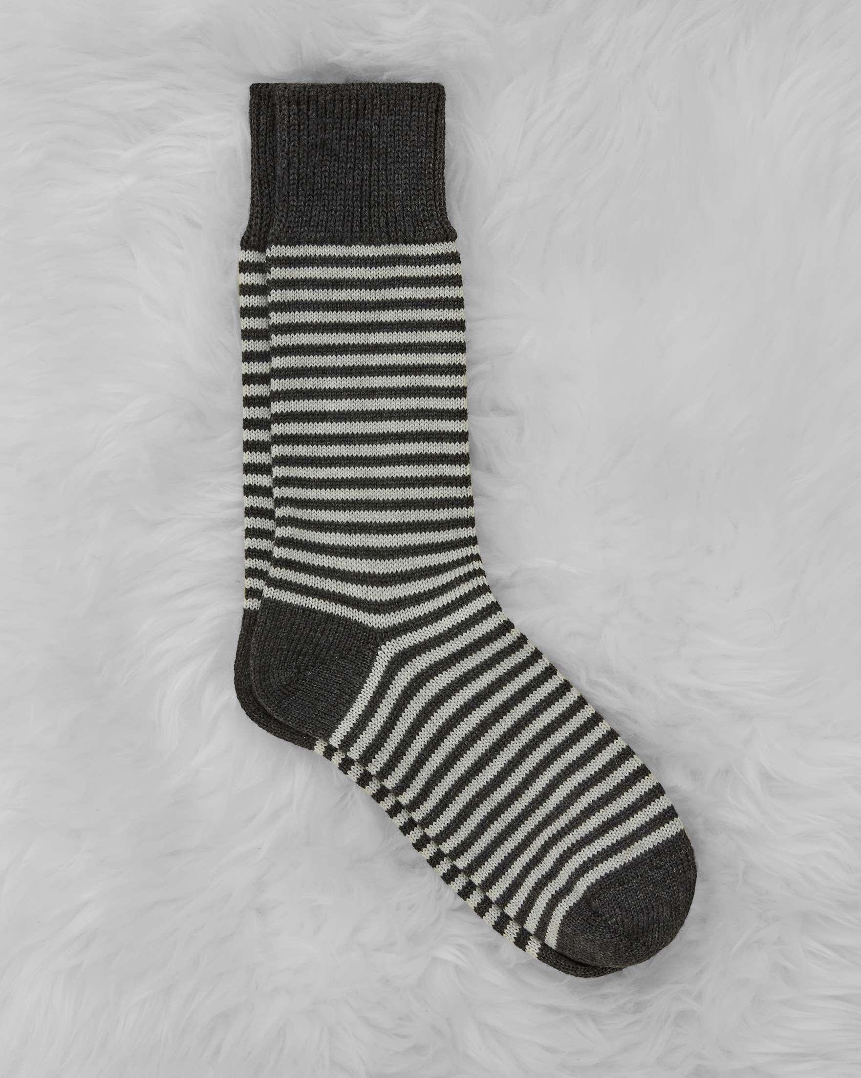 Ladies Merino Cotton Striped Sock