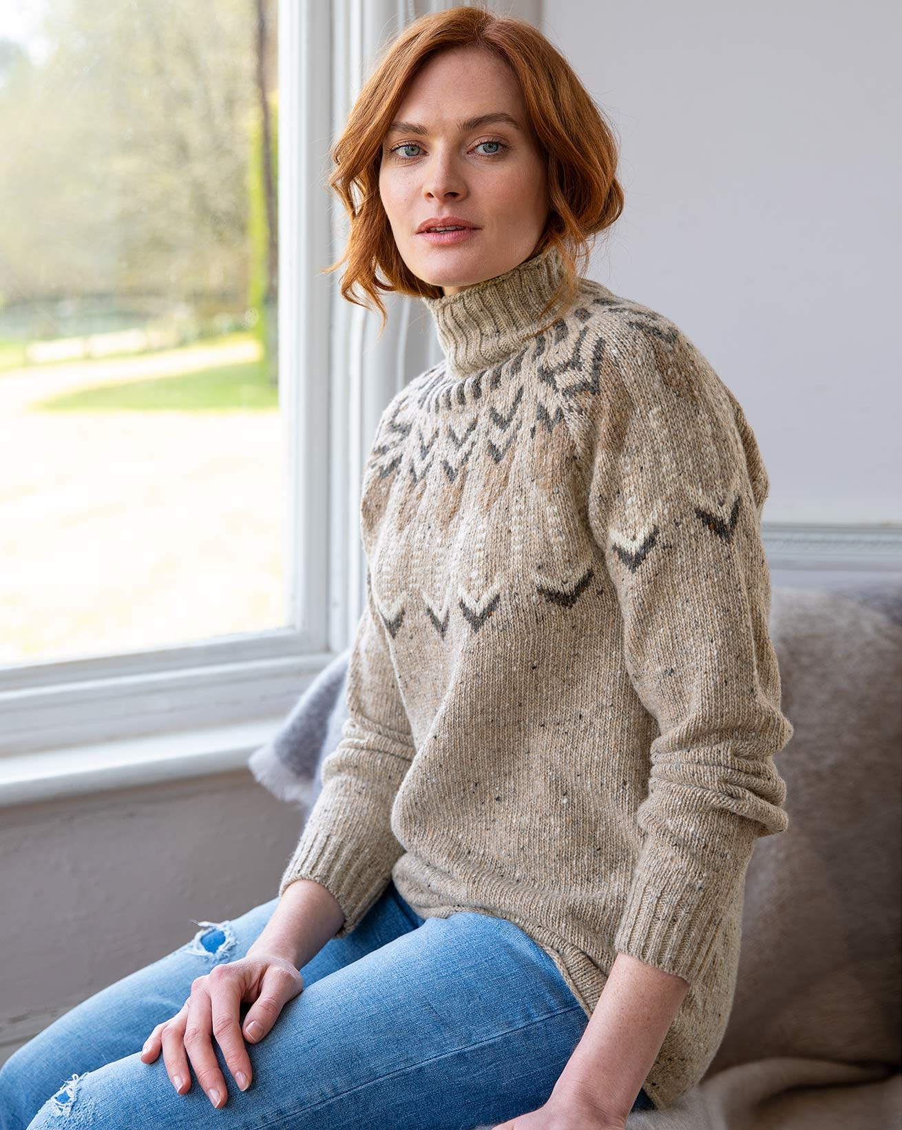 Fair Isle Funnel Neck Sweater