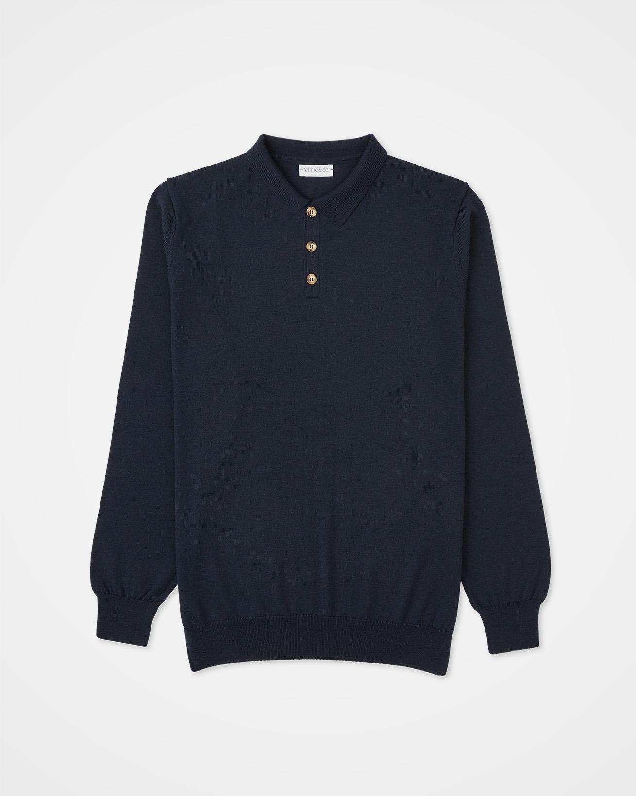 Men's Fine Knit Polo Sweater