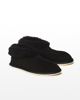 Men's sheepskin Bootee Slipper - Size 8 - Black - 1629