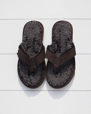 Ladies Shearling Flip Flops