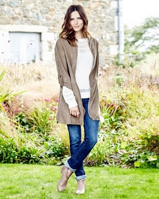 Collarless Suede Coat