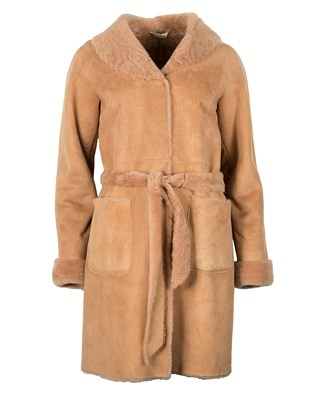 3/4 Belted Sheepskin Coat - Size Small 68