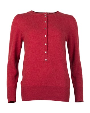 Cashmere Henley Jumper - Xsmall - Red Marl
