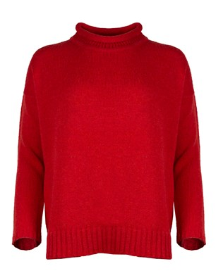Roll Detail Funnel Neck Jumper - Small - Red