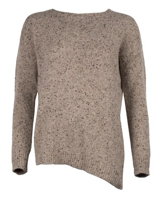 Asymmetric Donegeal Crew-neck Jumper - Small - Grey Fleck