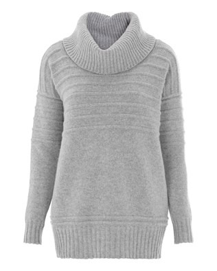Rib Detail Roll Neck - Small - Silver Grey