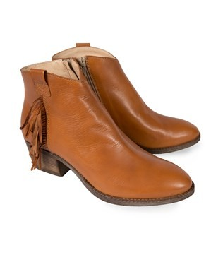 Rust Leather Fringed Cuban Heeled Boot - Size 40 - 16