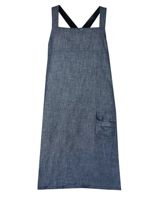 Linen Cotton Pinafore - Size Medium - Chambray
