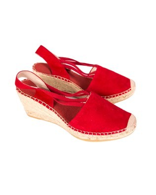 Wedge Slingback Espradrille - Size 37 - Red Suede
