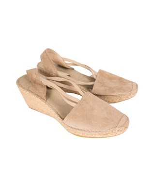 Wedge Slingback Espradrille - Size 39 - Taupe Suede