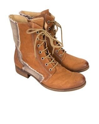 Lace up Canvas and Leather Boot - Size 38