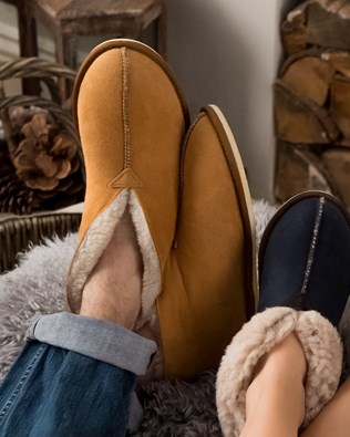 Men's Shearling Bootee Slippers