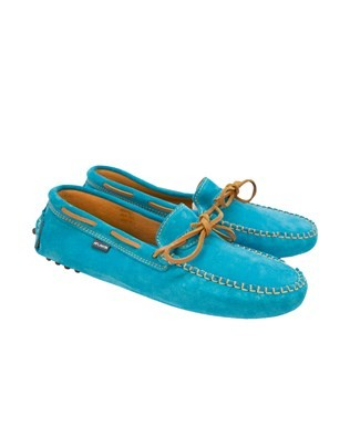 Driving Suede Tie Moccasins - Size 40 - Turquiose
