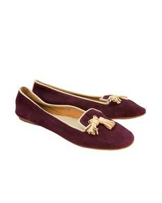 Suede Ballet Pump - Size 38 - Purple