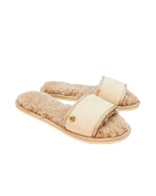 Sheepskin Slides - Size Medium - Oatmeal