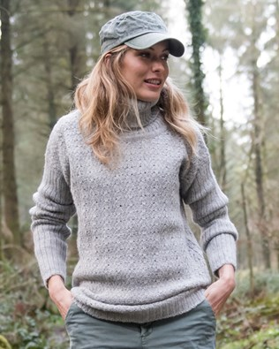Alpaca Pointelle Slouch Neck Sweater