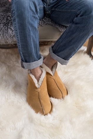 men's sheepskin bootee slippers £67, sheepskin rug_quad £345.jpg