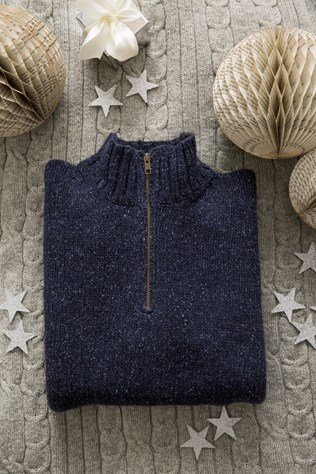 mens zip neck jumper £115 pictured on lambswool cable throw £78.jpg