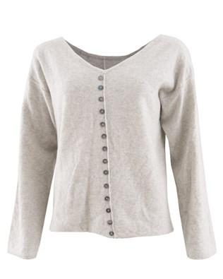Geelong Button Back Jumper - Size Medium - Dove Grey