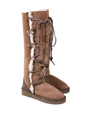 Knee Length Clacker Boots - Size 6 - Mocca/cream