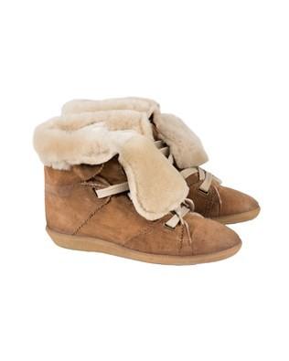 Suede & Sheepskin Lux Hightops - Size 4 - Tan