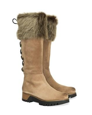 Sheepskin Trimmed Knee Boots - Size 5