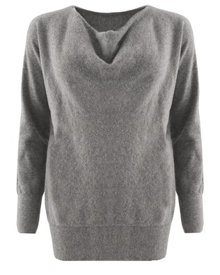 Soft Cowl Jumper - Size Small - Grey - 1538
