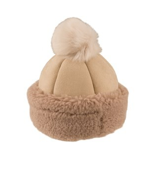 Ladies Pompom Beanie - Size Medium - Stone 269