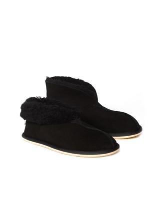 Mens Sheepskin Bootee Slipper - Black - Size 10 - 2481