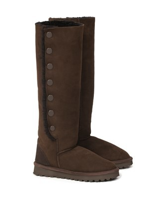 Sheepskin Popper Boots - Knee Height - Size 5 - Mocca - 1224