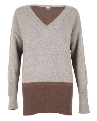 468- easy v neck- small- 2 tone grey and mushroom- front.jpg