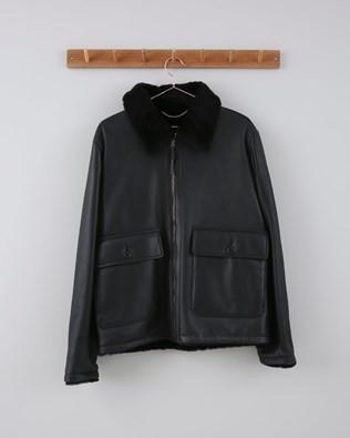 Mens Sheepskin Bomber Jacket - Size 40 - Black 652