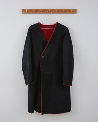 Reversible Sheepskin City Coat - Size 10 - Red/Black 651