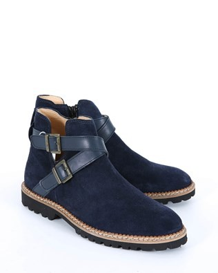 Buckle Strap Ankle Boots - Size 37 - Navy 503
