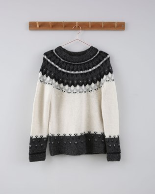 Fairisle Yoke Jumper - Size Small - Grey/Ecru 717