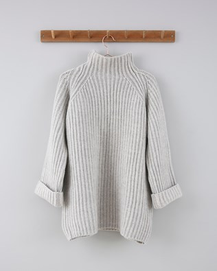 Chunky Fishermans Rib Jumper  - Size Large - Light Grey Marl 720