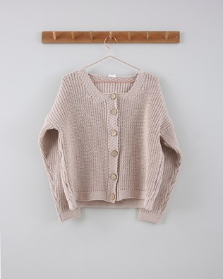 Fishermans Rib Cable Cardi - Size Small - Parchment 726