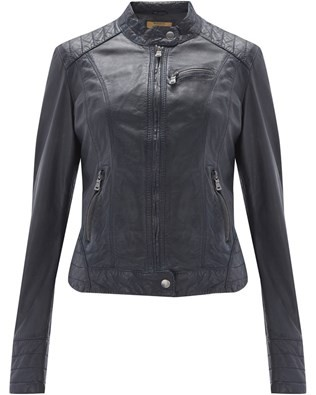 Leather Biker Jacket - Size 12 - Navy 642