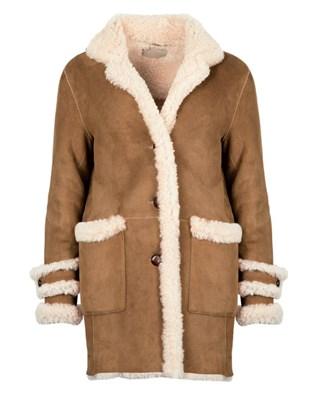 Vintage Box Sheepskin Coat - Size 10 - Tan 644