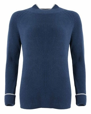 Tipped Fishermans Rib Funnel Neck - Size Medium - Navy 700