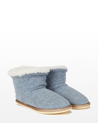 Knitted Shortie Slipper - Size 7 - Blue Marl 541