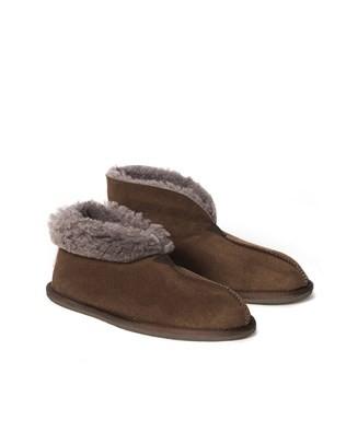 Mens Sheepskin Bootee Slipper - Khaki - Size 8 - 2492