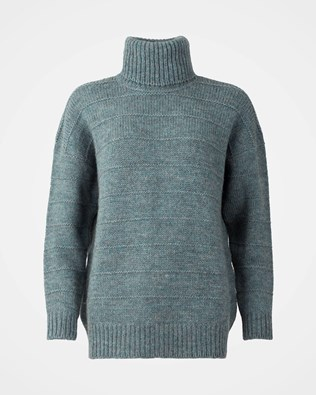 Purl Detail Roll Neck - Small - Nordic Blue - 1146
