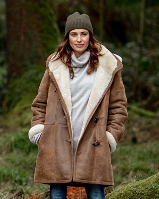 Sheepskin Duffle Coat for Women