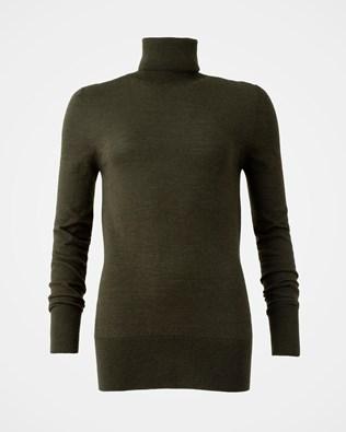 Merino Roll neck Jumper - Size Medium - Olive - 1537