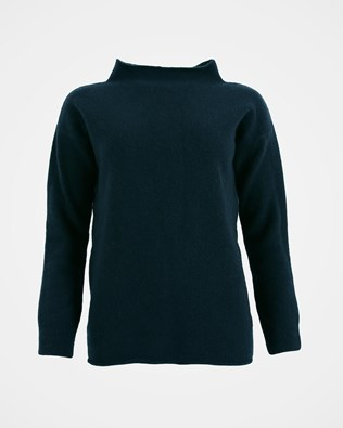 Felted funnel Neck jumper - Size Small - Deep Icelandic Blue - 1536