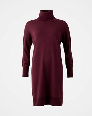 Slouchy Fine Knit Roll Neck Dress - Size Medium - Sloeberry - 1617